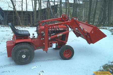 Burt T. in Hallowell, ME built this nice looking loader for his WheelHorse garden tractor 3